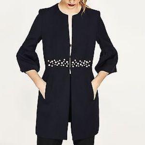 NWT Zara Jacket Pearl Details Black M